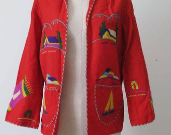 Vintage 1940s hand crafted 100% wool Mexican tourist jacket. Size Small