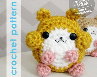 amigurumi crochet pattern, crochet hamster, hamster stuffed animal, tiny plushie, tiny stuffed animal, tiny amigurumi