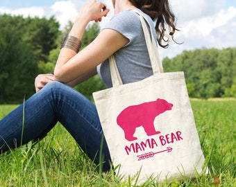 Mama Bear Canvas Tote Bag - Pink Gift for Mother's Day