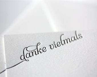 danke vielmals - letterpress thank you cards in german