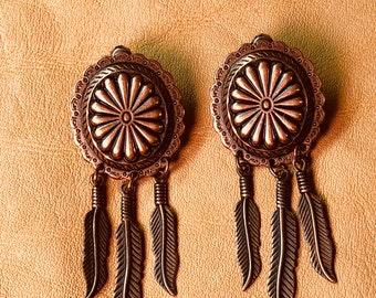 Copper Concho & Feather Earrings