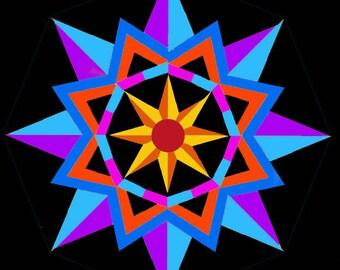 Sun Star pieced quilt block pattern PDF