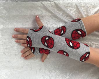 Gray with Spiderman аingerless  fleece gloves