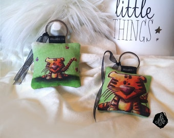 1 x fabric Keychain / bag Illustration Tiger and Butterfly charm handmade
