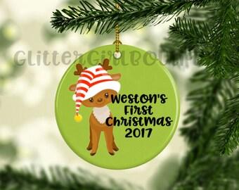 Baby's First Christmas Ornament, Custom Ornament, Personalized Ornament, Baby's First Ornament, Porcelain Ornament, Animal Ornament |