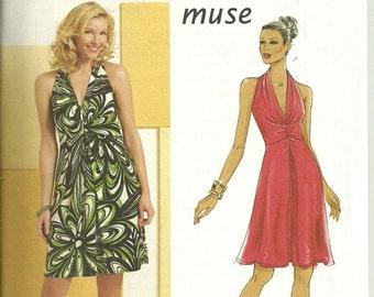 Womens Sleeveless Halter Dress, 2 Lengths, Size 14 16 18 20, Uncut Pattern, Butterick Muse B5352 OOP