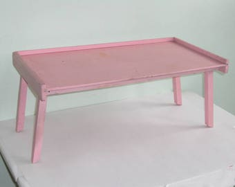 Vintage Pink Wood Bed Tray Lap Tray Folding Legs