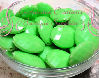 24mm x 20mm Lime Green Oval Faceted Acrylic Beads Qty 10