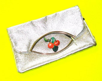 Twin Cherries Shiny Silver Glam Retro Rockabella Vintage Refurbished One of a Kind Foldover Handbag Clutch Purse