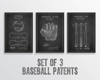 Baseball Patent Wall Art Posters Set of 3, Baseball Print, Baseball Art Print, Baseball Decor, Home Decor, Gift Idea,
