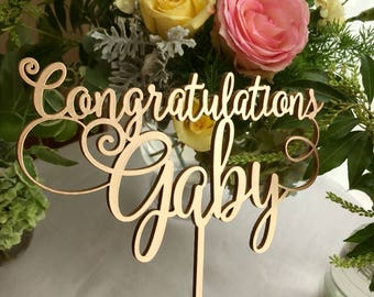 Graduation Cake Topper - Congratulations Cake Topper - Bridal Shower Cake Topper