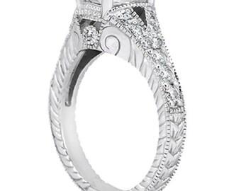3/4ct  7x5mm Oval Forever Brilliant Moissanite Diamond Vintage Engagement Ring ENR7894