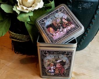 Alice in Wonderland Tea Tin. Alice in Wonderland Tea Storage Tin. Alice in Wonderland Tin Box. Storage Tin. Alice Tin. Alice Box.