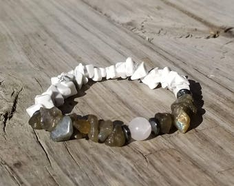 Calm Transitions, Labradorite, Howlite, and Rose Quartz Energy Bracelet