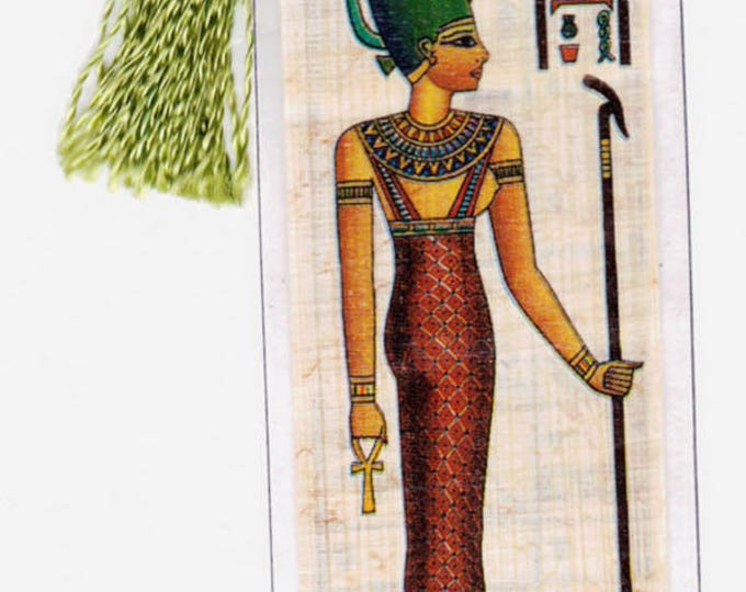 Genuine Egyptian papyrus bookmark! Satis-Goddess of Hunting and Fertility. Useful, beautiful and unique gift!
