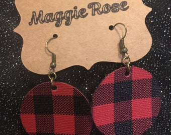 Buffalo check vinyl earrings
