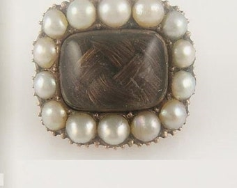 Antique Mourning Hair Brooch Lace Pin 9Kt Surrounded by Pearls