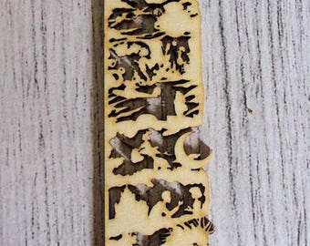 Bookmark embellishment 1171 wood for your creations