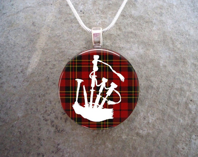 Celtic Jewelry - Glass Pendant Necklace - Highland Bagpipe Jewellery - Bagpipes on Red Tartan