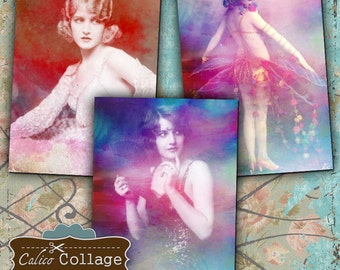 Rainbow Ladies Digital Collage Sheet Printable Images for Gift Tags, Mini Cards, Hang Tags, Mixed Media Art, Altered Art - Vintage Printable