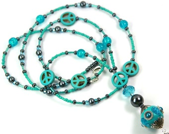 TURQUOISE PEACE - Beaded Peace Sign badge holder, Beaded badge holder, Beaded Lanyard