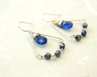 Blue Teardrop Earrings, Sapphire Blue Earrings, Trapeze Earrings, Czech Glass Beads, Sterling Silver Earrings, Blue and Silver Earrings