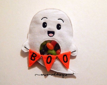 ITH Ghost Treat Holder with Boo banner (5x7) Instant digital download