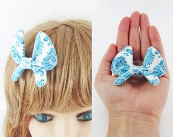 MADE-TO-ORDER ( 1 - 2 Weeks)- Butterfly Bow Barrette-Blue Leaves