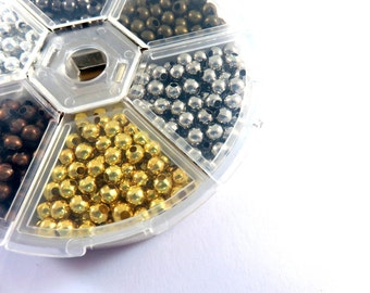 4mm Spacer Beads Assortment Round Metal Beads 6 Color Plated Finish - 948 pc - M7058-AS