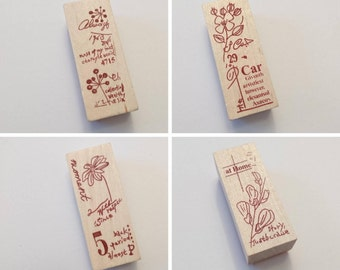 Wooden rubber stamps, botanical stamps, herbal plants stamps, tiny stamps