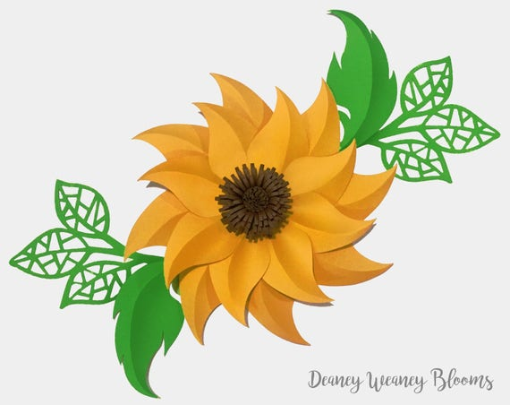 SVG And PDF Digital Sunny Sunflower Paper Flower Template