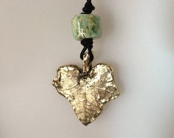 Ivy leaf brass pendant