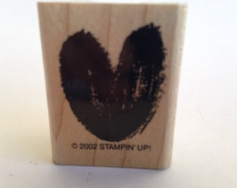 Abstract Brush Stroke Heart Stamp Vintage Rubber Stamp - Card Making - Crafts  ~ 161221