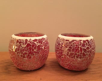 Pair of hand made mosaic tea light holders in red