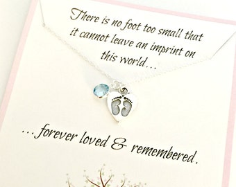Memorial Jewelry - Sterling Silver Heart Footprints with Birthstone - Personalized Sympathy Gift - Remembrance Infant Child Loss Necklace