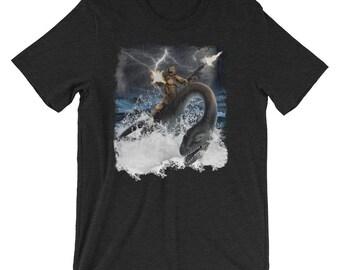 "The Official ""Bigfoot Riding on Nessie"" Epic Commando Sasquatch Shirt | Loch Ness Monster Shirt"