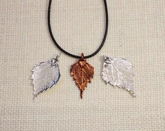 SALE Leaf Necklace, Birch Leaf, Silver Leaf, Real Leaf Necklace, Silver Birch Leaf Pendant, Copper Leaf, Boho Necklace SALE323