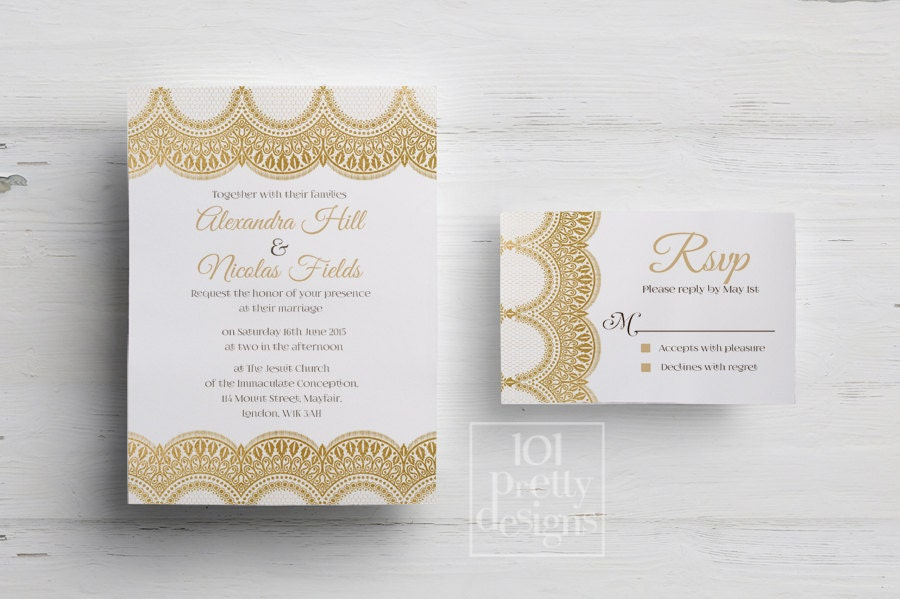 Golden wedding invitation template printable wedding