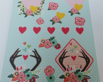 precut to assemble for a 3-d flower heart images A4 sheet