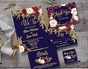 Marsala wedding invitation template wedding invitation wedding invitation template printable editable diy floral watercolor wedding navy blue gold stopboris Gallery