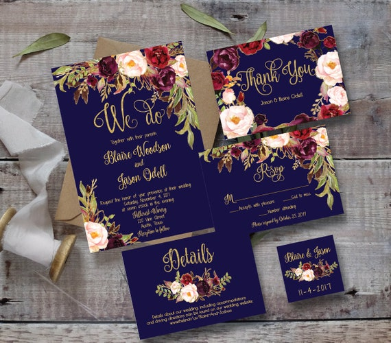 When Do You Send Out Wedding Invitations: Wedding Invitation Template Printable / Editable DIY Floral