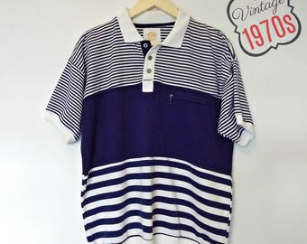 Vintage Striped Polo Shirt Mens Nautical 70s 1970s Navy Blue Collared Size Large