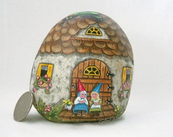Painted rock, painted stone, gnome cottage, gnome family, garden gnome, garden decor, gnome house, painted gnome, toadstools, butterfly, bug