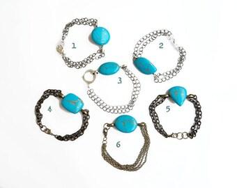Turquoise Bracelet, Teal Gemstone Bracelet, Stone Chain Bracelet