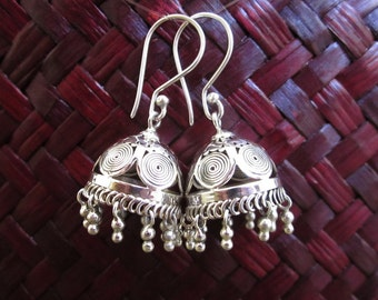 Famous Rajasthan style Silver sterling  Earrings / 1.50 inch long / Bali handmade jewelry / silver 925 / (#781m)