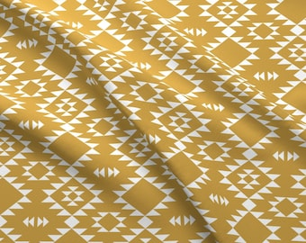 Southwestern Tribal Fabric - Gold White By Kimsa - Bohemian Tribal Southwestern Cotton Fabric By The Yard With Spoonflower