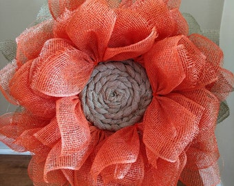 Beautiful Orange Poly Deco Mesh Wreath. Perfect Indoors or Outdoors.