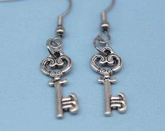 Love Heart Key Earrings, Key Charm Earrings, Key Earrings, Silver Key Charm, Key Jewelry, Heart Jewelry, Everyday Jewelry, Dangle Earrings