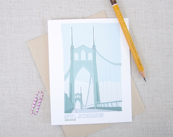 St Johns Bridge Note Card / Portland Bridges Card / Illustrated St Johns Bridge Card / PNW Art Card / Portland Oregon Any Occasion Note Card