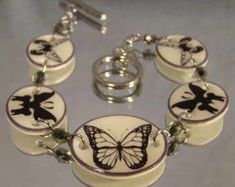 Butterfly Clasp Bracelet - Black and White Jewerly - silhouette Jewellery